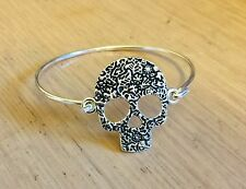 Flower Skull Bangle, Bracelet Silver Plated, Vintage, Rockabilly, Steampunk Goth