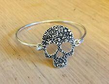 Flower Skull Bangle, Bracelet Silver Plated, Vintage, Rockabilly, Steampunk Goth