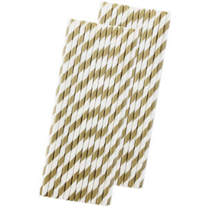 Striped Paper Straws - Gold White - 7.75 In - 50 Pack- Outside the Box Papers