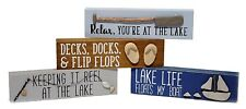 Wood Block Lake Dock Fishing Wall Sign Desk Plaque Set/4 Cabin Home Decor NEW