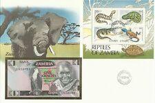 Zambia Elephant Fish Eagle Snake Crocodile Lizard Chamaleo Turtle 1 Kwacha 1984