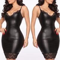 ❤️ Sexy  Women's Ladies Sling Lace PU Leather Short Mini Bodycon Dress Clubwear