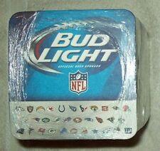 FULL SLEEVE OF 125 Bud Light Budweiser NFL Team Logos Beer Coasters NEW