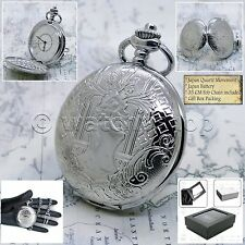 Mm with Curb Link Chain & Box P154 Silver Antique Pocket Watch Men Big Size 47