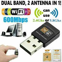 Mini 600Mbps Dual Band 2.4GHz/5GHz USB WiFi Adapter Wireless LAN Dongle 802.11AC