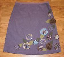 Boden Purple Corduroy Womens Skirt Size 14 UK 10 US Floral Applique A-Line