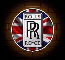 ROLLS ROYCE UK BADGE SIGN LED LIGHT BOX MAN CAVE GARAGE WORKSHOP GAMES ROOM GIFT