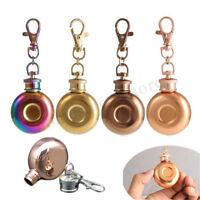 Mini Pocket Hip Flask With Key Keychain 1Oz 28ml Liquor Storage Stainless Steel
