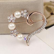 Women Wedding Party Heart Shape Dress Decoration Shiny Pearl Diamond Brooch Pin