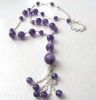 Faceted Amethyst Bead Necklace Set In Sterling Silver