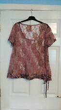 Next Sheer Floral Pink Ribbon Detail Net Style Top UK Size 18 Beach Cover Up