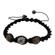 Brown White 6mm Crystal Balls on Black Macrame Cord Shamballa Inspired Bracelet