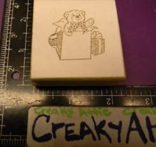 Bear Stuffed Toy In A Gift Box Rubber Stamp Co-Motion Comotion May Be