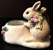 Fitz and Floyd Snowy Woods Bunny Rabbit Votive Candle Holder