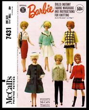 7431 McCall's BARBIE Pattern Fashion Doll Fabric Sewing & Knitting Wardrobe 60's