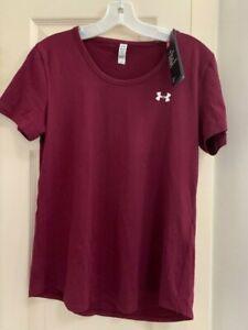 NWT Under Armour Women's Medium Charged Cotton Short Sleeve Burgundy T-shirt