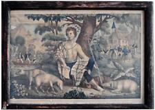 Estampe XIXème intitulée l'enfant prodigue garde les pourceaux