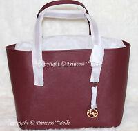 NWT MICHAEL KORS Jet Set Travel Medium Tote Bag Leather Purse Handbag Merlot