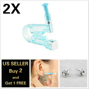 2Pcs Piercing Gun Disposable Sterile Ear Nose Piercing Kits Ear Rings Studs