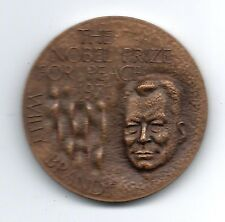 HE NOBEL PRIZE For PEACE 1971 - WILLY BRANDT -German BRONZE MEDAL 45 mm / M46
