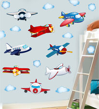 Childrens Planes & Clouds Wall Art Stickers 20 Pack Sky Plane Airplane Decals