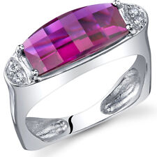 Radiant and Seductive 3.00 cts Barrel Cut Ruby Ring Sterling Silver