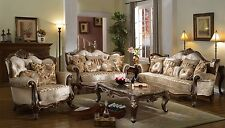 Marseille French Provincial 3-pc Beige Sofa Set In Chenille And Dark Solid Wood