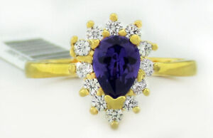 AMETHYST 0.60 Cts & WHITE SAPPHIRE RING 14K YELLOW GOLD PLATED NWT Size 8
