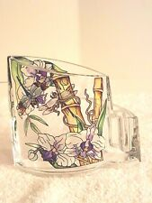 AMIA 5760 HAND PAINTED ACRYLIC PEN HOLDER FEATURING DRAGONFLIES  ORCHIDS BAMBOO