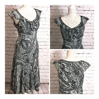 Per Una Grey Dress Fit & Flare Size 12R Wedding Cruise Summer Party Occasions