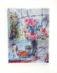 Marc Chagall, Bouquet with Open Window, Lithograph, facsimile signed