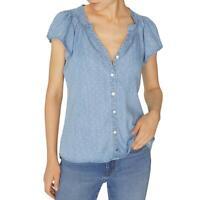 Sanctuary Womens A Return To Love Blue Hi-Low Button-Down Top Shirt XS BHFO 3288