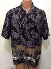Hilo Hattie Mens XL Black Gray Hibiscus Brown Palm Trees Hawaiian Cotton Shirt