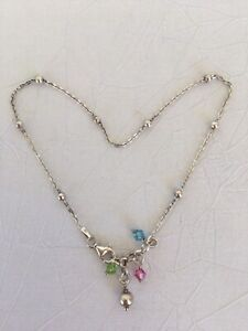 Vintage 925 Italy Fine Silver Anklet With Crystals.