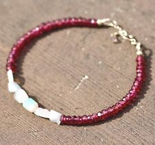 Natural Rhodolite Garnet and Opal Bracelet Solid 14k Gold 2nd 15th Anniversary