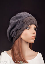 M484 Gray Women Lady Cute Bow Warm Cashmere Wool Winter Beret Beanie Hat SKI Cap