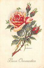 Cartolina - Postcard - Illustrata - Buon onomastico - rosa con boccioli - 1951