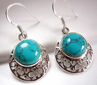 Turquoise Filigree Earrings 925 Sterling Silver Dangle Drop New
