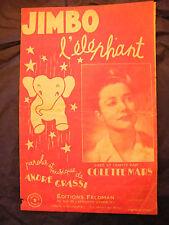 Partition Jimbo l'Eléphant Colette Mars Music Sheet 1947