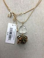 NWT Banana Republic Yellow Goldtone Faceted Crystal Cluster Chain Necklace