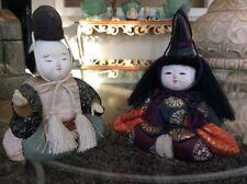 "Beautiful Vintage Mid Century Pair Kimekomi Dolls Gofun Wood Hands 5"" Tall XLNT!"