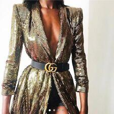 Zara Blazer Dress Sequin Tuxedo Style Golden Metallic Shiny Small S 8