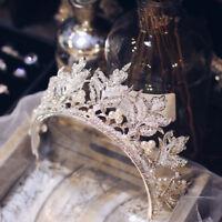 Silver Queen Crystal Pearl Leaf Crown Wedding Bridal Pageant Prom Headband Tiara