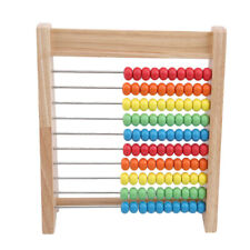 Rainbow Wooden Counting Bead Abacus Toy Counter Educational Calculating LH