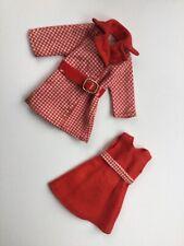 Pedigree Sindy Doll HTF 1972 'Red Hot' Belted Coat & Dress (Ref.12S48)