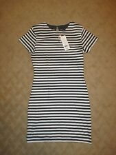 NWT French Connection Gray/White Striped Knit Cotton Dress- Size 6