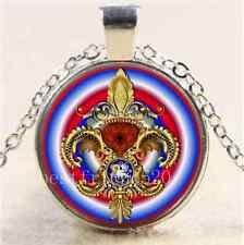 Fleur De Lis Louisiana Cabochon Glass Tibet Silver Chain Pendant Necklace