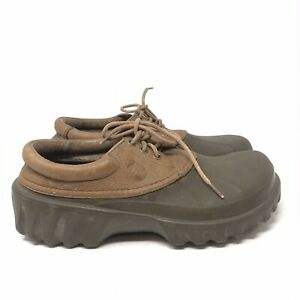 Crocs Axle All Terrain Leather Lace Up Clogs Shoes Brown Black Mens Size 10