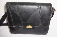 Vintage Black Quilted Leather Stiched Purse Handbag Shoulder Bag By Shane