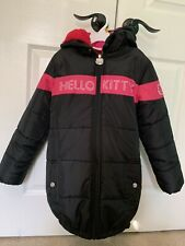 Hello Kitty Girls Puffer Jacket with Hood, Black/Pink , Size 8
